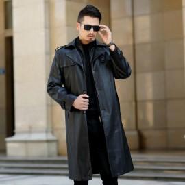 Nuevo Otoño Invierno Vintage de cuero PU para hombre cálido en invierno chaqueta de solapa negro gabardina chaqueta motocicleta
