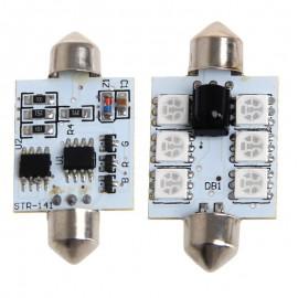 1 par 42mm cc 12V 5050 6 LED RGB LED mapa Domo coche luz Interior + Control remoto R2LC