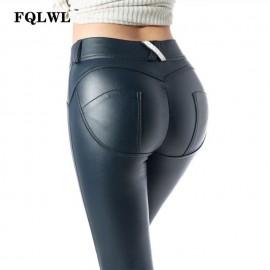 FQLWL Faux Pu Leggings de cuero grueso/Negro/Push Up/alta cintura Leggings mujeres de talla grande invierno Legging Sexy Pants m